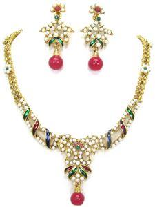 Afbeelding van Polki Necklace and Earrings JS006