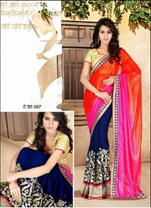 Picture of Oranje Shimmer Blauwe Georgette Saree  S002