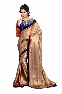 Picture of Koperkleur Satin Saree met Designer Blouse S005