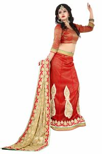Picture of Beige en Rode Lehenga Style Saree S008