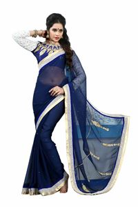 Picture of Blauwe Georgette Saree met Designer Blouse S009