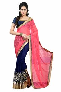 Picture of Roze Blauwe Half-Half Georgette Saree S010