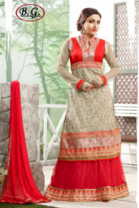 Picture of Rode en Taupe Ghagra Stijl Anarkali A009