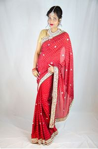 Picture of Rood Bruids Saree Met Parel Borduursels S016
