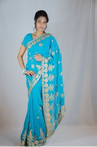 Picture of Blauwe Georgette Saree S023