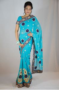Picture of Blauwe Georgette Saree Met Velvet Kant S024
