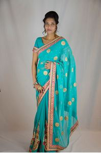 Picture of Donkerturquuoise Georgette Saree S025