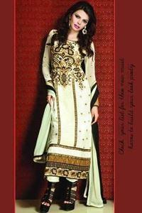 Afbeelding van Crème Witte Georgette Salwar Kameez SS026