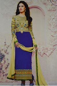 Picture of Blauwe Geborduurde Salwar Kameez SS039