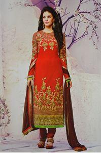 Picture of Rode Geborduurde Salwar Kameez SS040