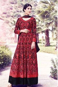 Picture of Indisch rood met zwart Anarkali A063