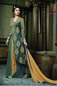 Afbeelding van Donkerolijfgroen Salwar Suit SS060