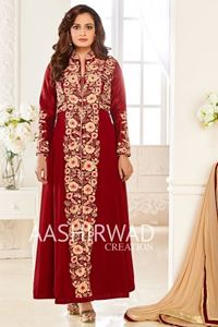 Picture of Purple Red Anarkali A075