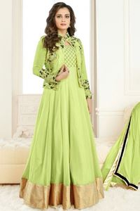 Picture of Lime Green Jacket Style Anarkali A076