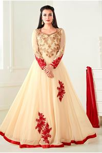 Picture of Cream Burgundi Anarkali A086