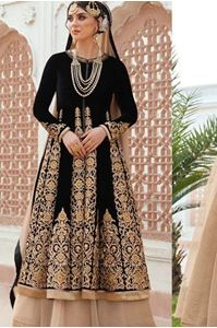 Picture of Black and Beige Heavy Anarkali A095