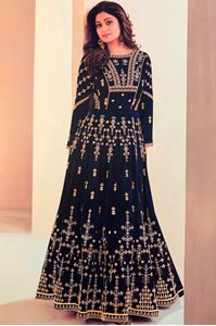 Picture of Midnight Blue Anarkali A124