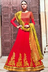 Picture of Rose & Green Anarkali A143