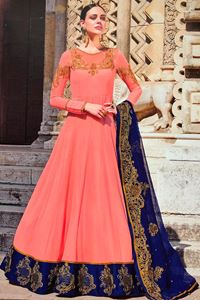 Afbeelding van Light Peach with Blue Anarkali A144