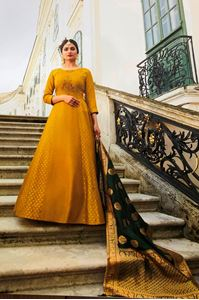 Picture of Marigold & Deep Olive Prime Anarkali A152