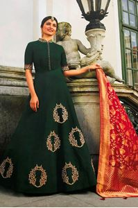 Picture of Forest Green & Geranium Prime Anarkali A153