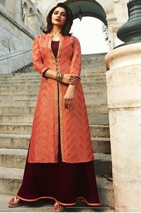 Picture of Light Coral & Maroon Tumbaa Kurti K051
