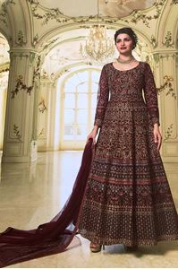 Picture of Maroon Oak Premium Anarkali A169