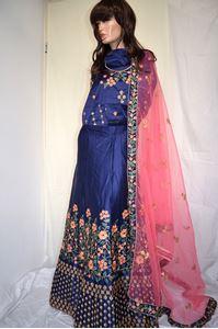 Picture of Blue Floral Silk Lehenga L008