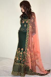Picture of Dark Green Silk Lehenga L016