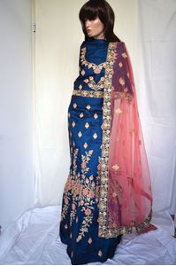 Picture of Dark Blue Silk Lehenga L018