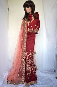 Picture of Dark Red Silk Lehenga L019