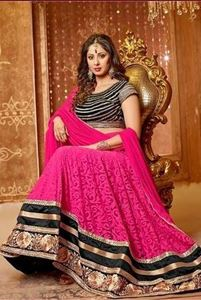 Picture of Fuschia En zwart dual Anarkali A059
